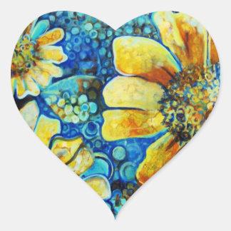 Tournesols, produits de beaux-arts sticker cœur