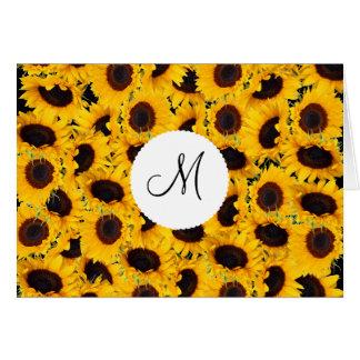 Tournesols vibrants de monogramme beaux floraux carte de correspondance