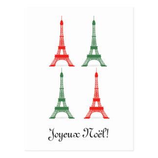 Tours Eiffel français de thème de Noël rouge et Cartes Postales