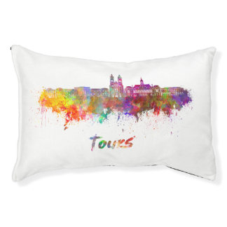 Tours skyline in watercolor pet bed
