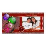 Tous enveloppés dans le carte photo de ruban cartes de vœux avec photo