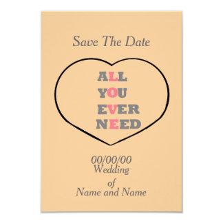 Tous vous avez besoin jamais d'amour, à un coeur, carton d'invitation 8,89 cm x 12,70 cm