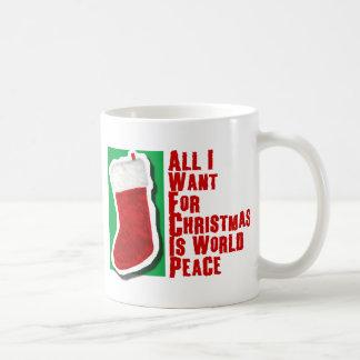 Tout que je veux pour Noël est paix du monde Mug Blanc
