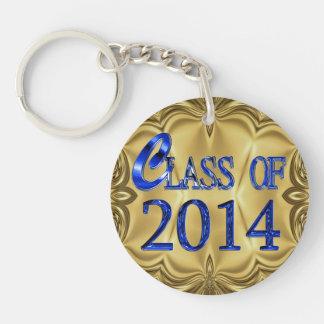 Toute classe nommée de 2014 bleus et porte - clé porte-clé rond en acrylique double face