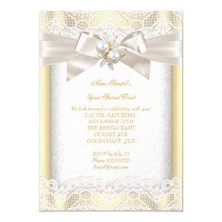 Toute la dentelle élégante de crème de bijou de carton d'invitation  12,7 cm x 17,78 cm