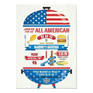 Toute l'invitation de partie de BBQ d'Américain 4 Carton D'invitation 12,7 Cm X 17,78 Cm