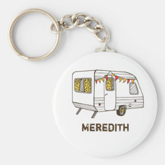 Tow Behind Camper Caravan Personalized Keychain