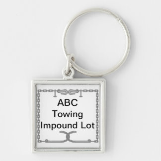 Tow Company Impound Lot Key Identifier Silver-Colored Square Keychain
