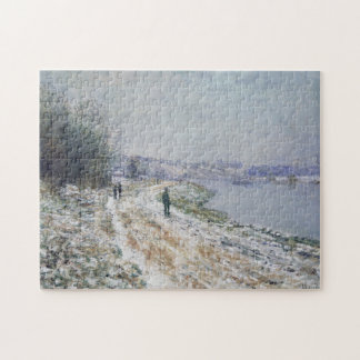 Tow Path at Argenteuil Winter Monet Fine Art Jigsaw Puzzle