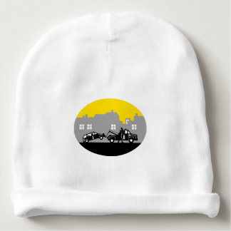 Tow Truck Towing Car Buildings Oval Woodcut Baby Beanie