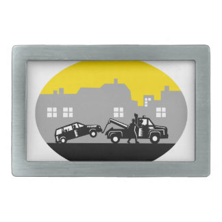 Tow Truck Towing Car Buildings Oval Woodcut Belt Buckle