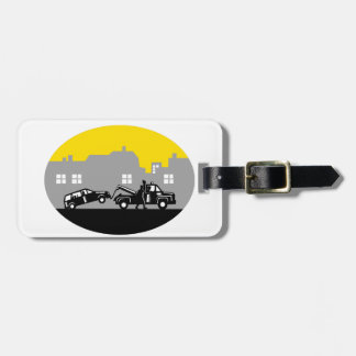 Tow Truck Towing Car Buildings Oval Woodcut Luggage Tag