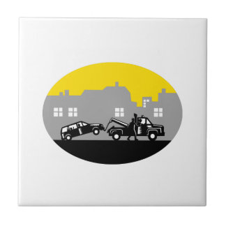 Tow Truck Towing Car Buildings Oval Woodcut Tile
