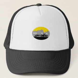 Tow Truck Towing Car Buildings Oval Woodcut Trucker Hat