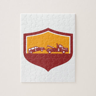 Tow Truck Towing Car Shield Retro Jigsaw Puzzle
