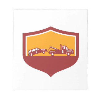 Tow Truck Towing Car Shield Retro Notepad