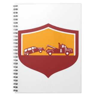 Tow Truck Towing Car Shield Retro Spiral Notebook