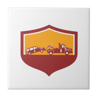 Tow Truck Towing Car Shield Retro Tile
