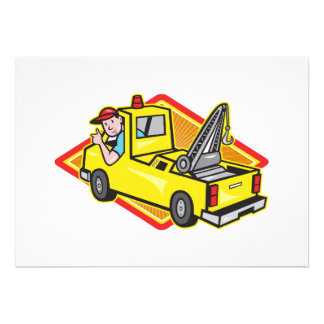 Tow Wrecker Truck Driver Thumbs Up Personalized Invitations