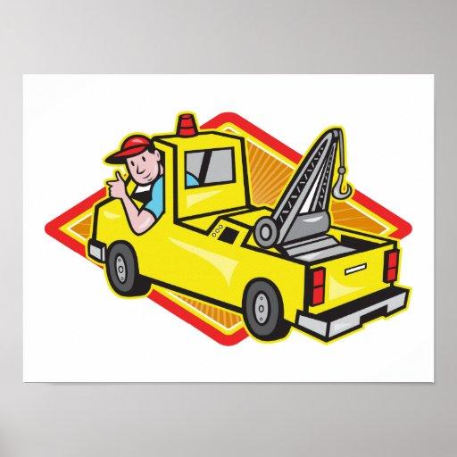 Tow Wrecker Truck Driver Thumbs Up Print