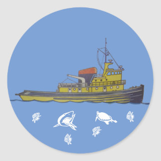 Towboat tugboat graphic draw cover round sticker