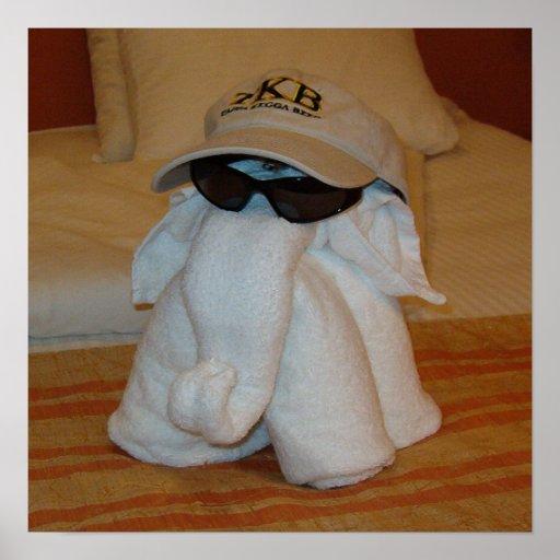 Towel Elephant with Sunglasses Print