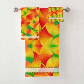 Towel Set - Citrus Fans w/Jeweled Border
