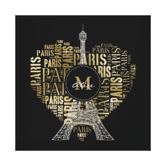 Tower and Monogram on Text Pattern Paris Canvas Print