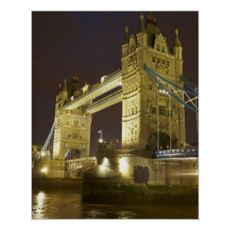 Tower Bridge and River Thames at dusk, London, Poster