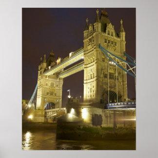 Tower Bridge and River Thames at dusk, London, Poster