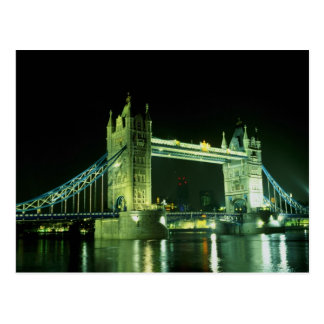 Tower Bridge illuminated in the evening, London, E Postcard