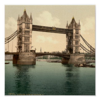 Tower Bridge, London 1800's poster