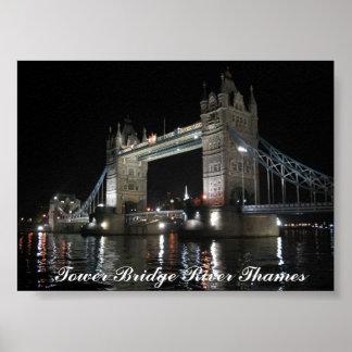 Tower Bridge London at Night Poster