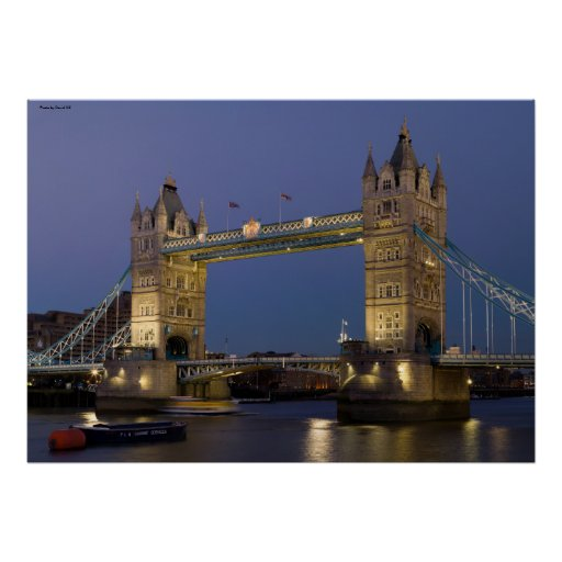 Tower Bridge London England at Dusk Poster