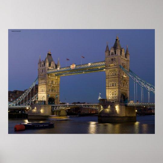 Tower Bridge London England at Dusk Poster