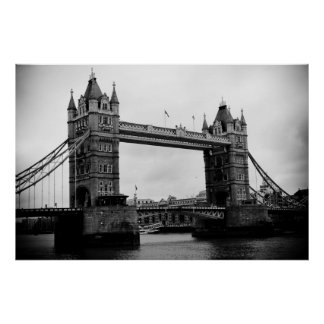 Tower Bridge, London, UK black and white print