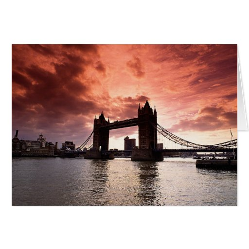Tower Bridge Red Sky Greeting Cards