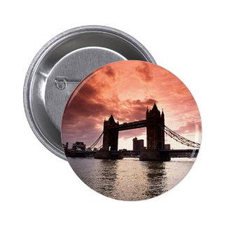Tower Bridge Red Sky Pin
