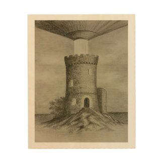 Tower illumination wood print