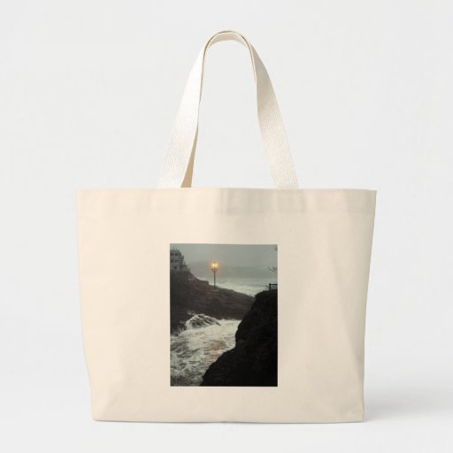 Tower in the Haze Canvas Bags
