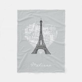 Tower & Inscriptions Paris in Heart Fleece Blanket