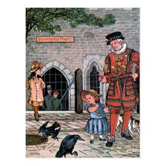 """Tower of London Ravens"" Vintage Illustration Postcard"