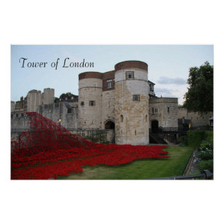 Tower of London with Ceramic Poppies - Poster