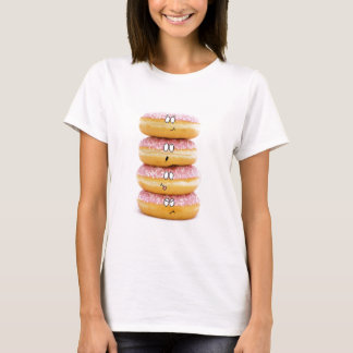tower of pink doughnut characters t-shirt