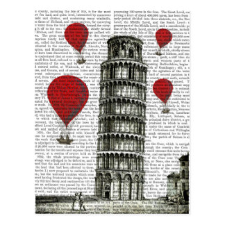 Tower of Pisa and Red Hot Air Balloons Postcard