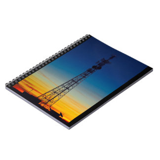 Tower silhouette sunset notebook