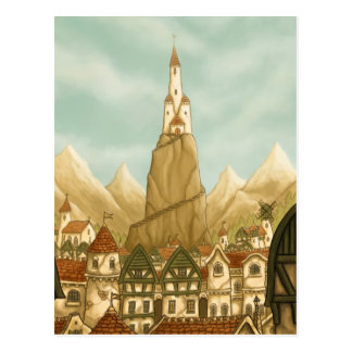 towering fantasy art postcard