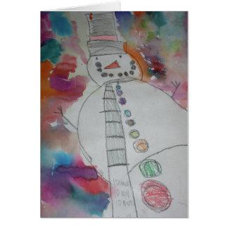 Towering Snowman Greeting Card