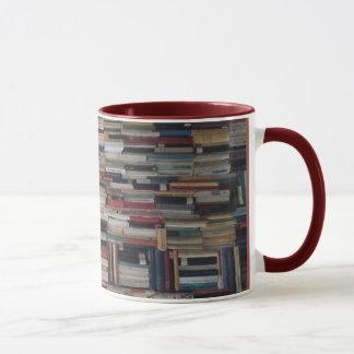 Towering Stacks of Books Wedged Together Mug