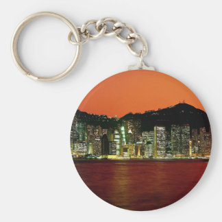 Towers of Central Hong Kong Island at dusk seen fr Basic Round Button Keychain